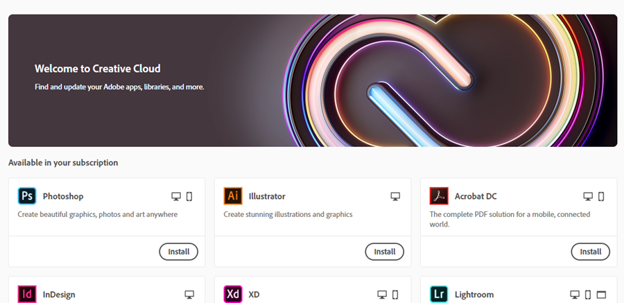 applications page in adobe