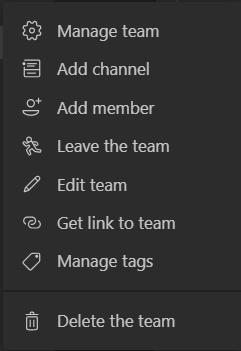 More options list