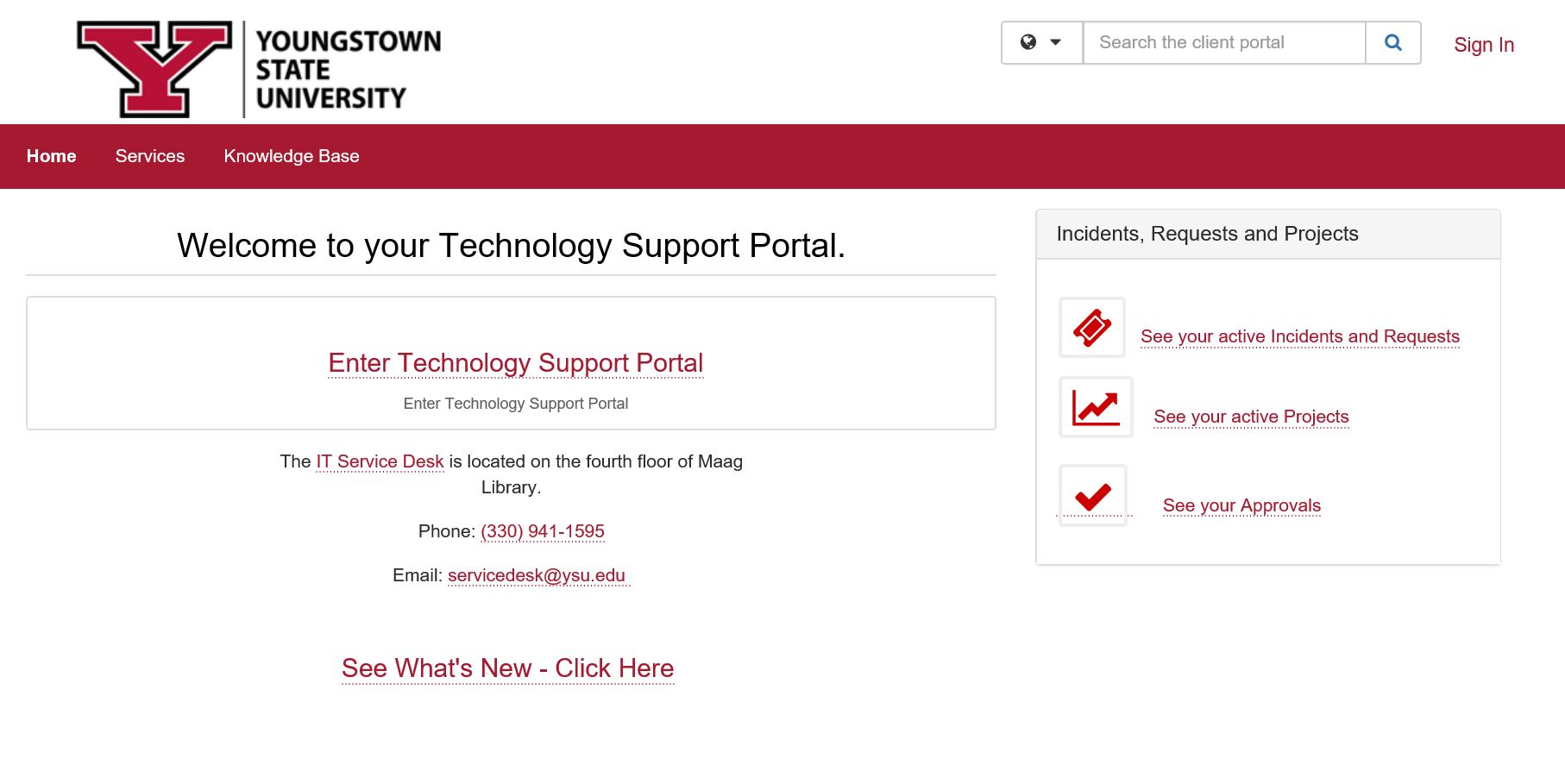 Technology Support Portal homepage