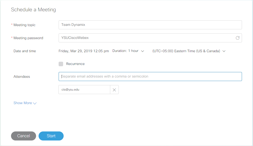 Schedule a Webex Meeting page. Has Meeting Topic, Meeting Password, Date and Time, and Attendees fields to fill out.