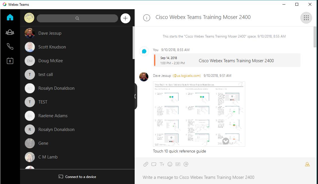 Main Page when logging into Cisco Webex Teams