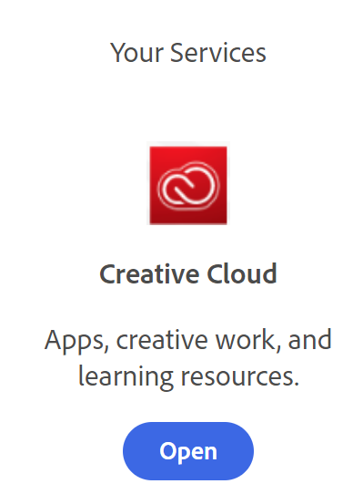 adobe logo and services button below